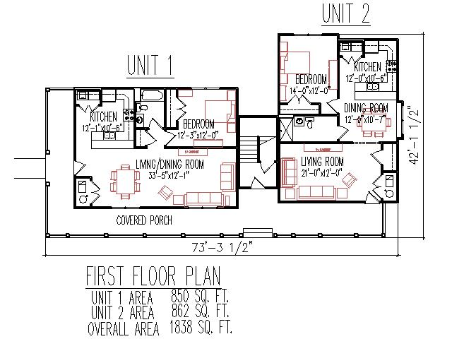 Duplex plans 3 unit 2 floors 3 bedroom 3 bath front porch for 3 bedroom unit floor plans