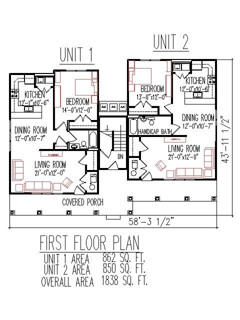 Triplex plans 2700 sq ft 3 unit 2 floors 3 bedroom for 3 bedroom duplex house plans